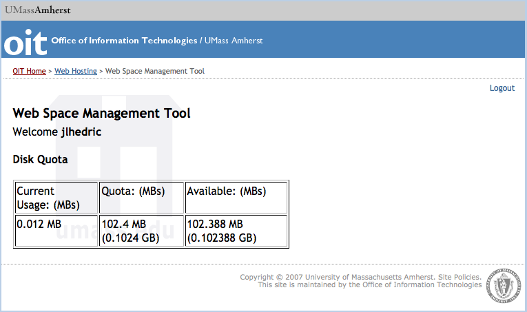Web Space Management Tool