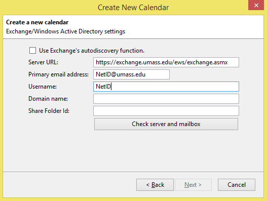 Configuring Exchange Email and Calendar in Thunderbird