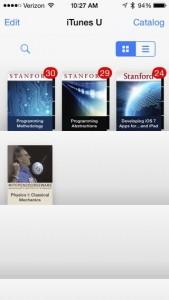 All of your subscribed Courses and Collections are shown within the iTunes U application.