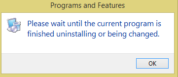 Wait While the Current Program is Being Uninstalled