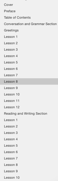 Table of contents for an etextbook allowing you to skip to a specific chapter on the fly.