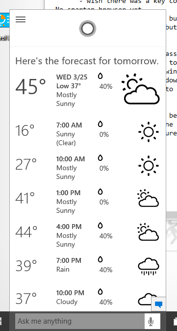 win10 cortana weather