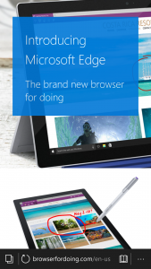 A glance at the new Microsoft browser, Edge!