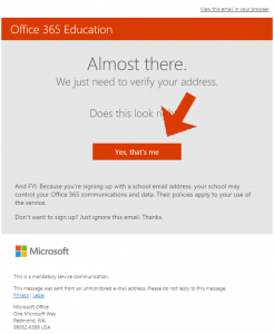 Microsoft Office 365 Email Confirmation