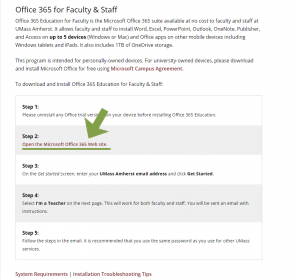 UMass IT Website - Faculty 365 Link