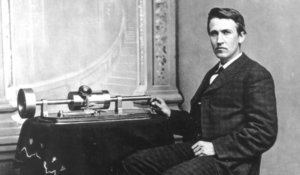 Thomas Edison with early Phonograph