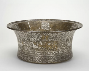Fig. 1. Brass Basin, 1247-49, Ayyubid period, probably Damascus, Syria, brass inlaid with silver, Freer Gallery of Art, F1955.10