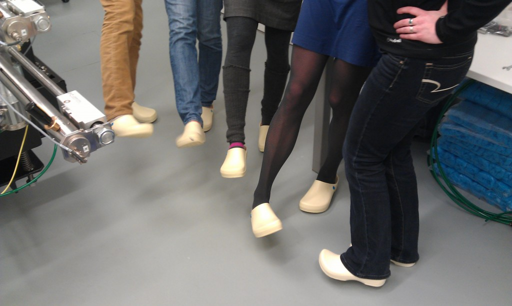 The UMass Biogeochem lab sports Dutch lab clogs during the nanoSIMS laboratory tour at Utrecht University.