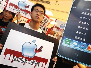 Apple workers protest in Hong Kong