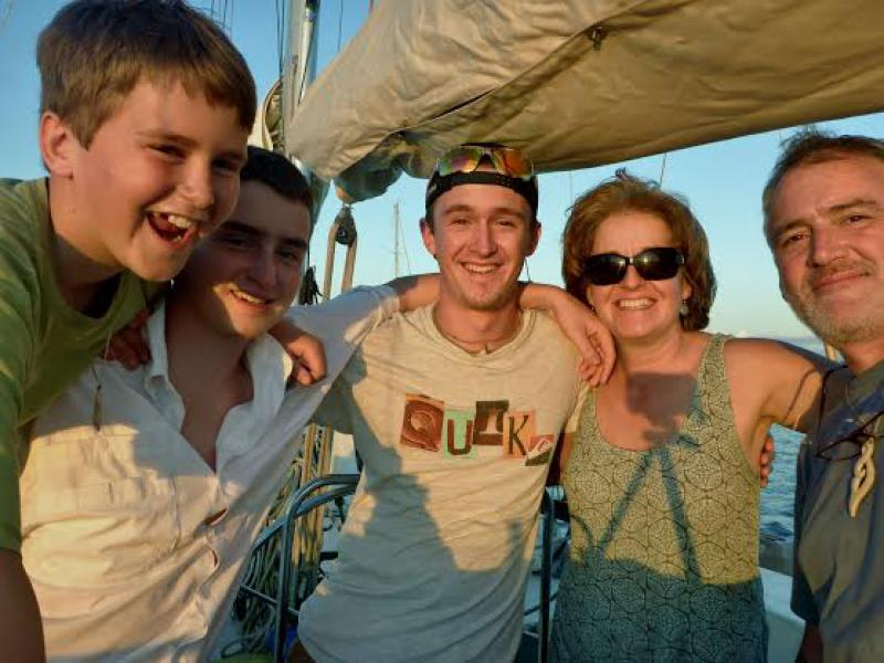 From left: Connor, Gavin and Rowan with their parents Janis Steele and Brooks McCutchen aboard the research vessel Llyr during a previous marine exploration trip in the Pacific. Submitted photo.