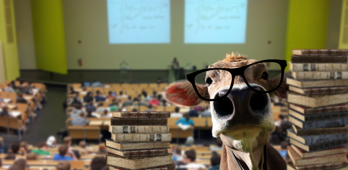 Coy face with glasses on the front, with a classroom on the background and a books at the side.