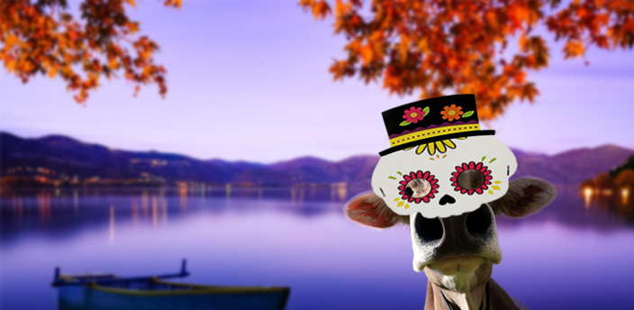 caw with a skeleton mask (dia de los muertos) with a boat on a lake background with fall leaves.