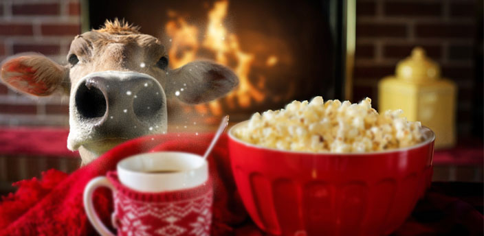 Cow bust in a room with a fireplace on in the background, and in the front layer a red mug and red bowl with popcorn