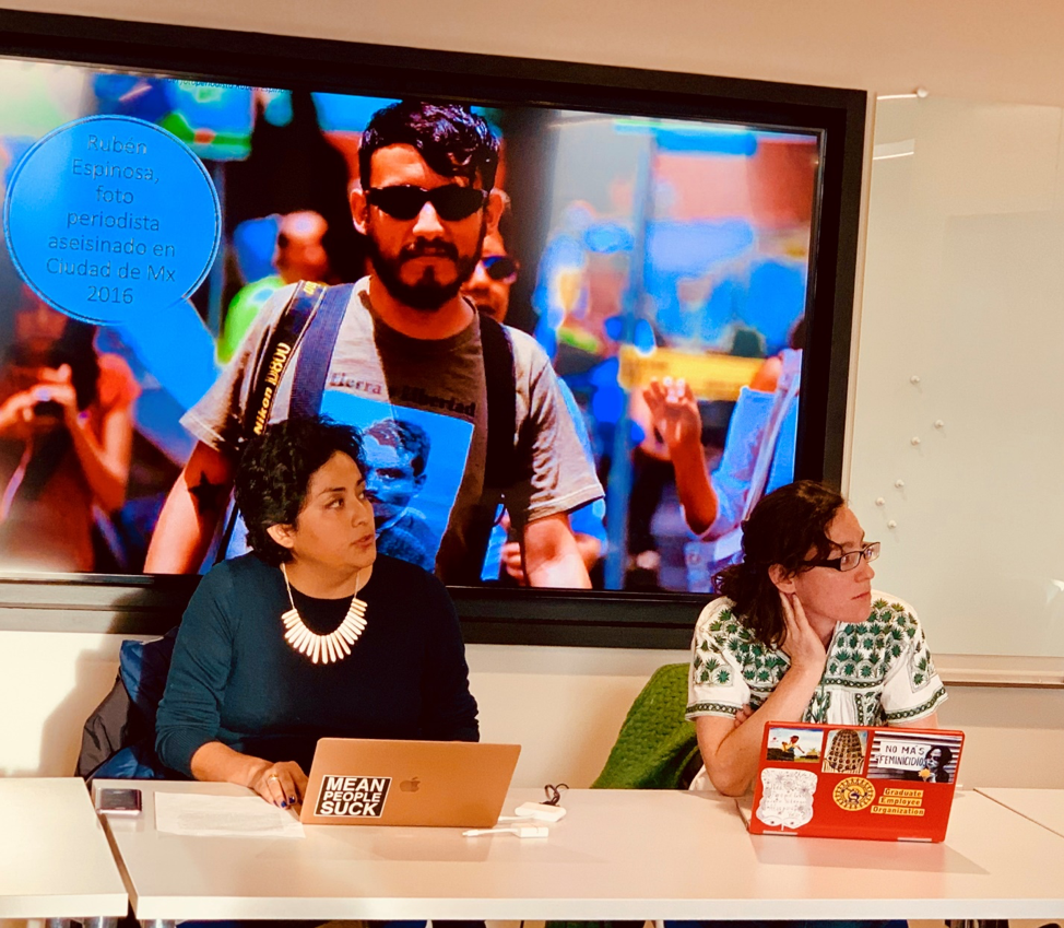 PhD candidates Claudia Morales (Left) & Ana Smith-Aguilar (Right) participate in a student-organized panel on the current socio-political situation in Mexico.