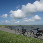 Biking on Terschelling, one of the Wadden Islands in the Netherlands.