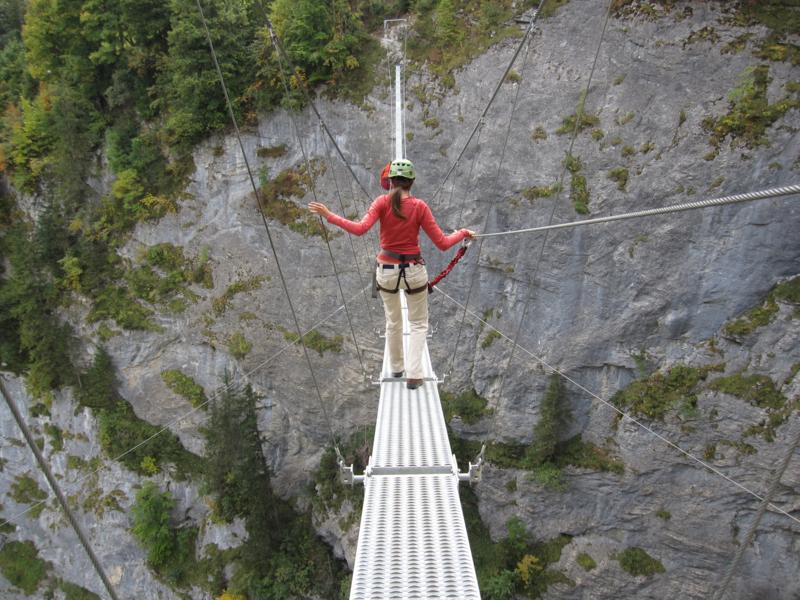 How did I get talked into doing this? Via Ferrata from Murren to Gimmelwald, Switzerland. (Approx. 1500 m drop below).