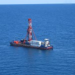 The Viphya barge for the Lake Malawi Drilling Project, 2005. Yes, we lived in those little containers.