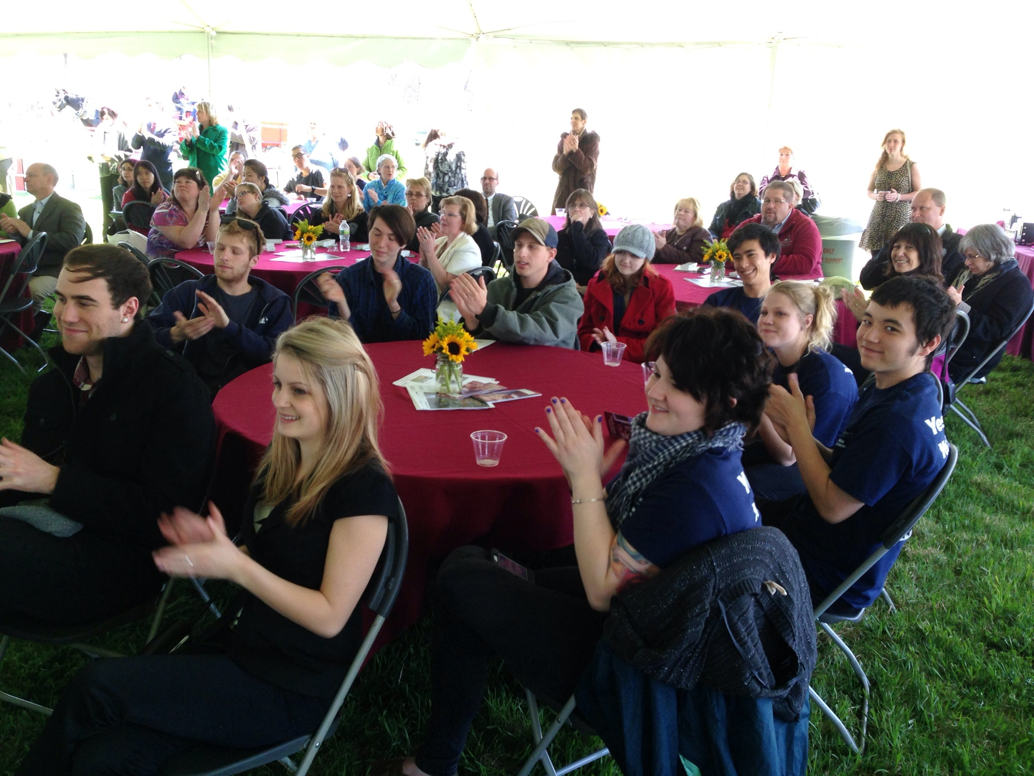 Jordan Teboldi and other Sustainable Food and Farming majors at the groundbreaking