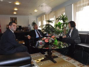 Jane Fountain, NCDG Director, 2011 meeting with Prime Minister, Binali Yildirim, and Dr. Erdem Erkul, Samsung Electronics Turkey External Affairs and Strategy Director and former NCDG Fellow. Ankara.