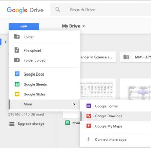 Google Drive Menu