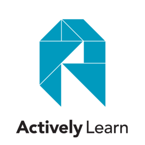 "Actively Learn Logo: Logo light blue and the name ""Actively Learn"" below"