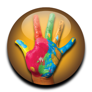 Wixie hand with paint logo