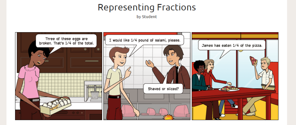 Screenshot of a comic explaining the use of fractions