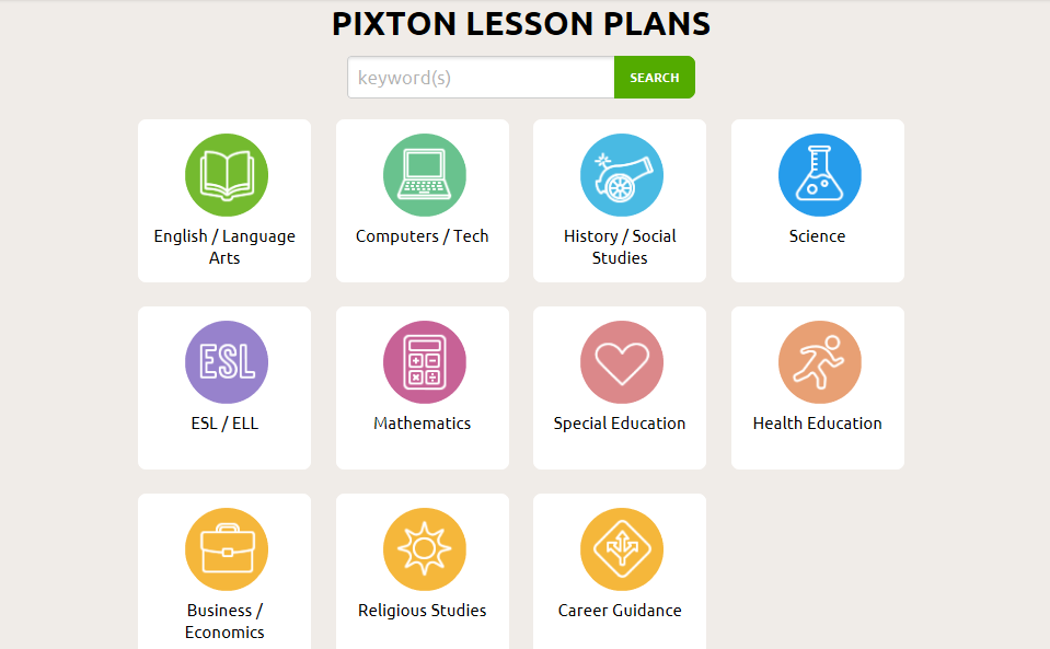 Screenshot of Lesson Plan options categorized by subject