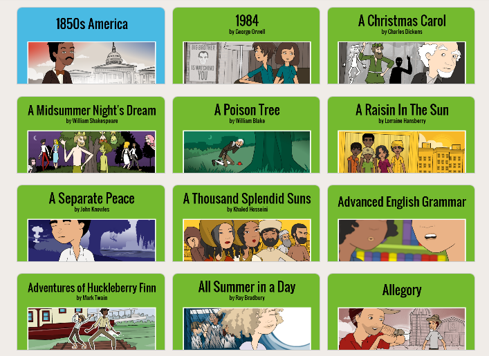 Screenshot of a list of activities for English Language Arts provided by Pixton