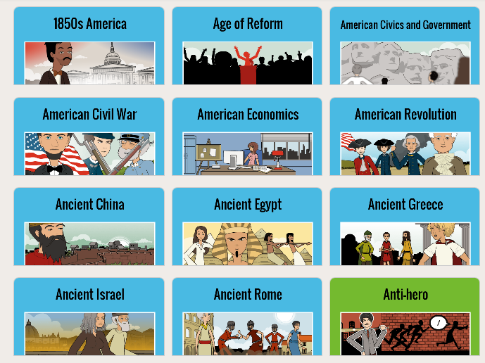 Screenshot of History lesson plans from pixton.com