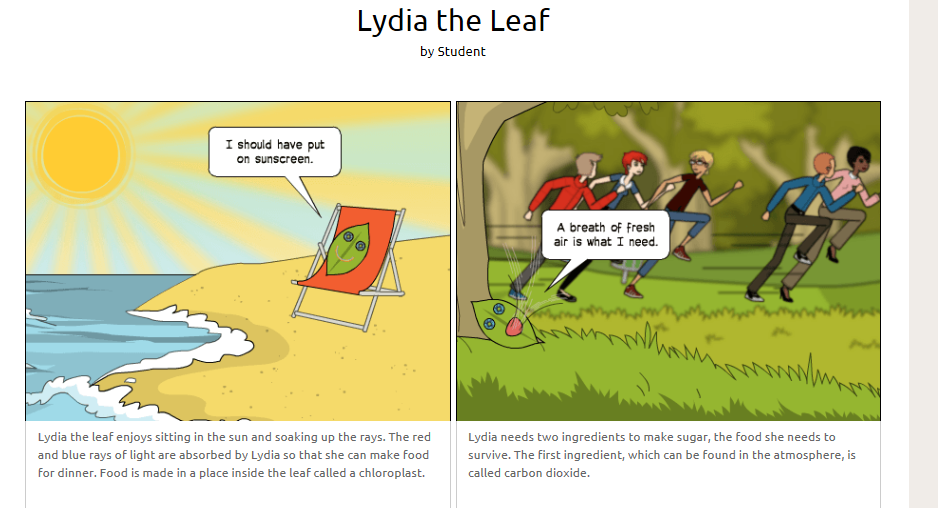 A screenshot of a comic explaining photosynthesis