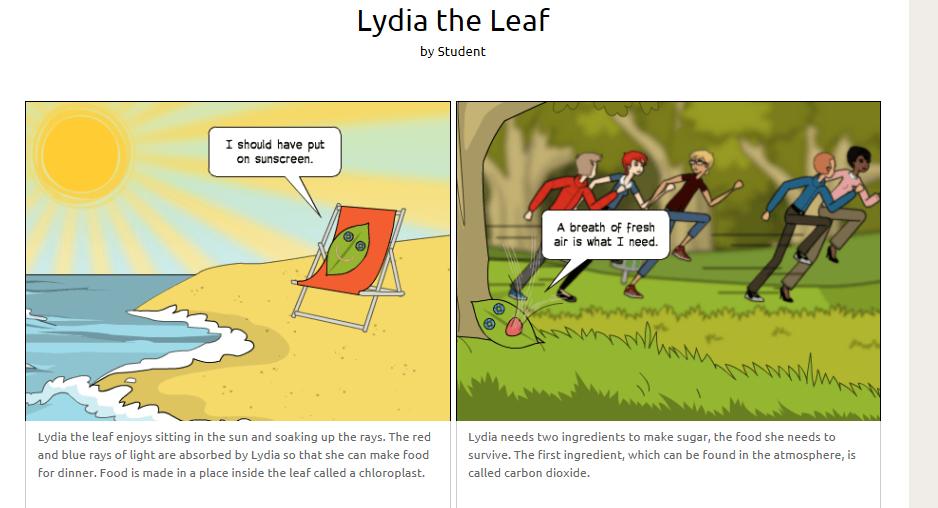 A screenshot of a comic explaining photosynthesis