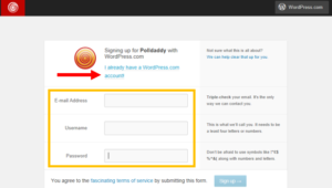Screenshot of user sign in page for polldaddy.com