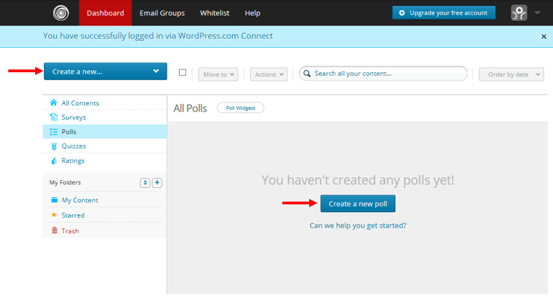 screenshot of polldaddy's dashboard where you can create polls and surveys