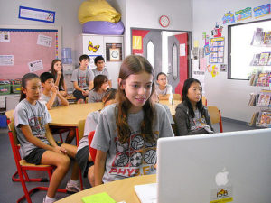 Elementary students using Skype in a classroom.