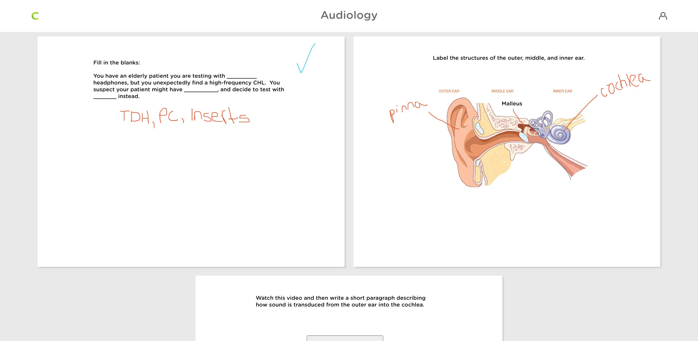classkick student view with three slides of student questions