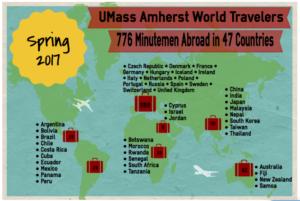 Infographic of UMass Amherst World Traveler data