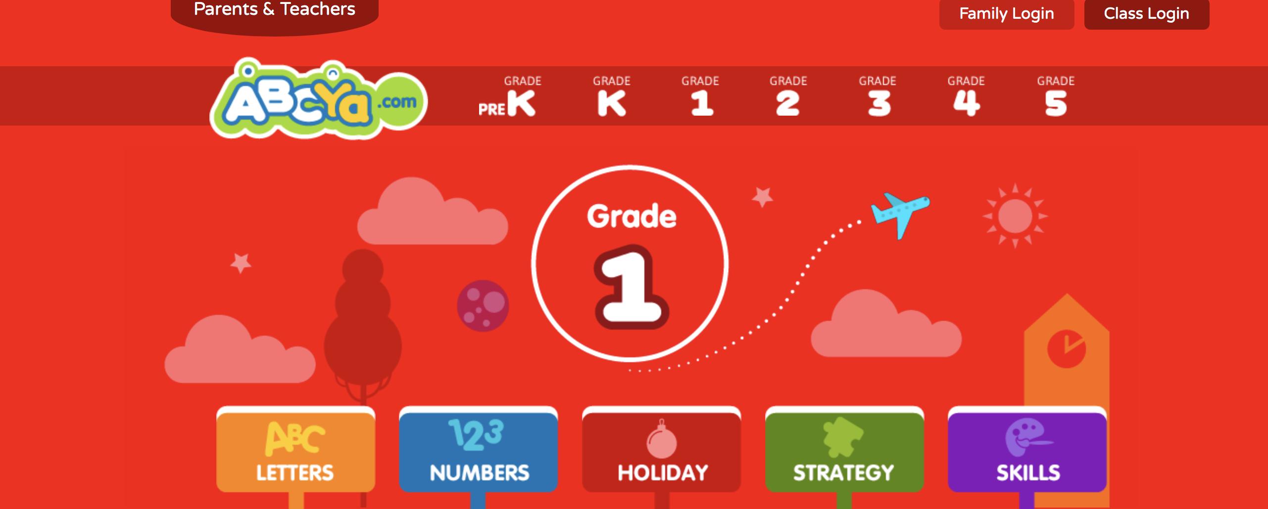 Screenshot First Grade homepage ABCya.com