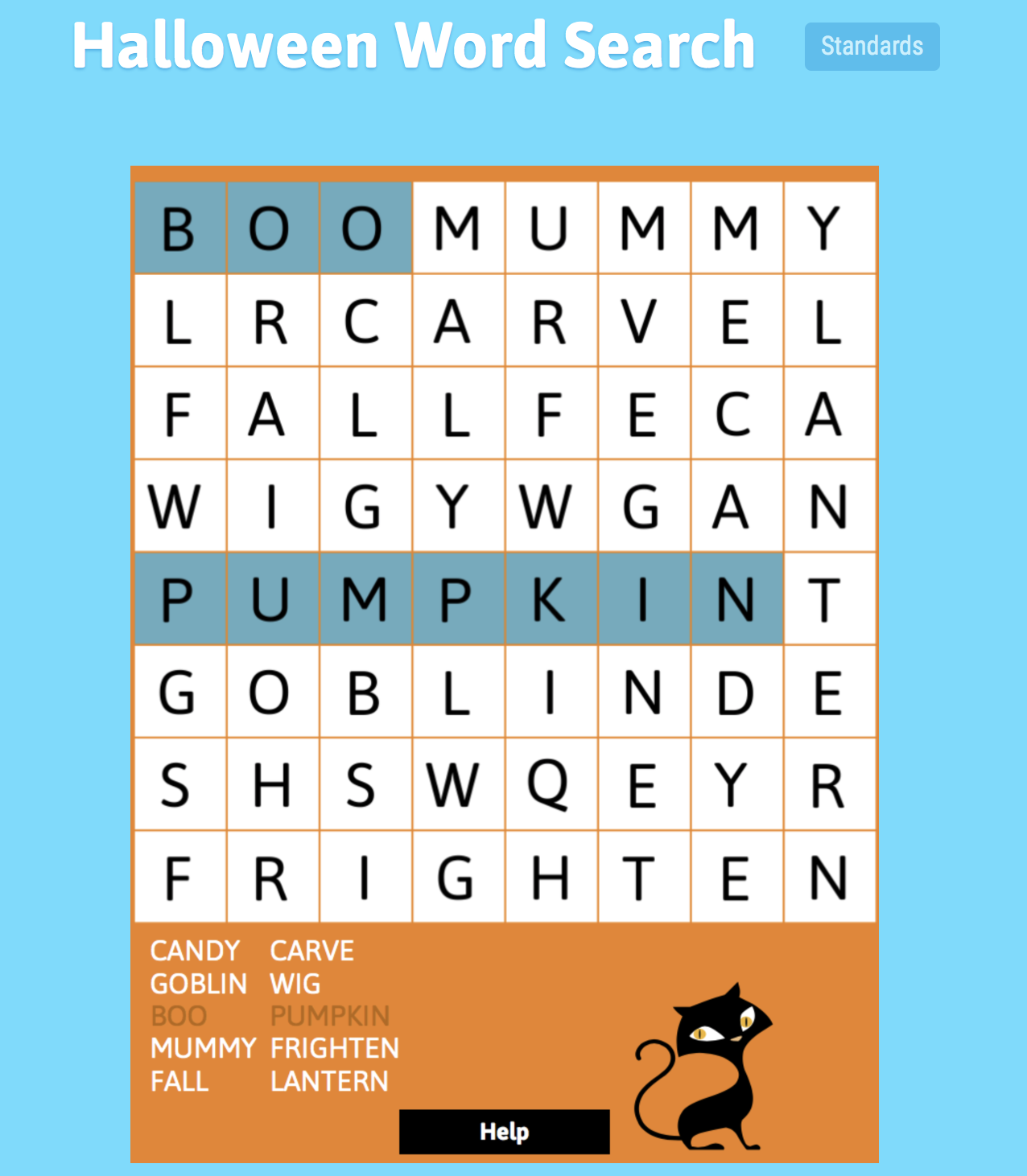 Screenshot Halloween Word Search game from ABCya.com