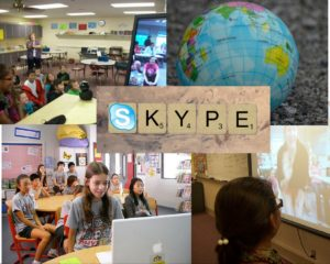 A collage of students using Skype to connect globally.