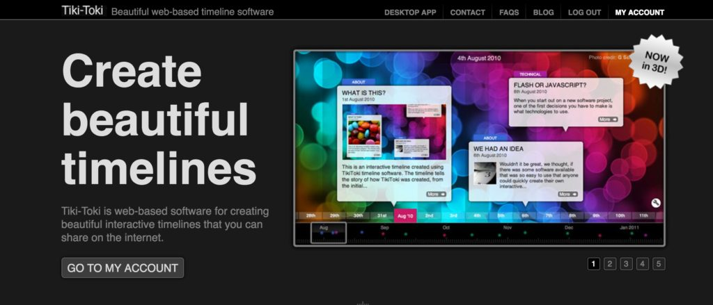 Screenshot of Tiki Toki homepage
