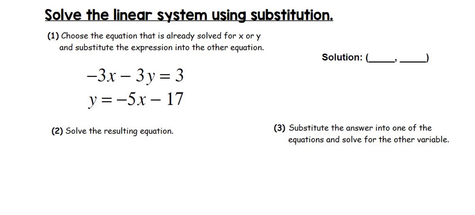 slide from lesson on solve the linear system using substitution