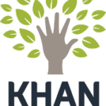 Khan academy logo: Tree where the trunk is a hand surrounded by green leaves with the word Khan below in black block letters.