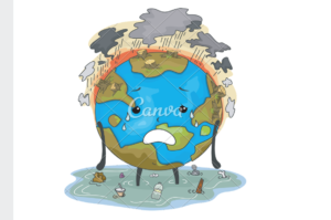 Screenshot of the earth with storm clouds and pollution