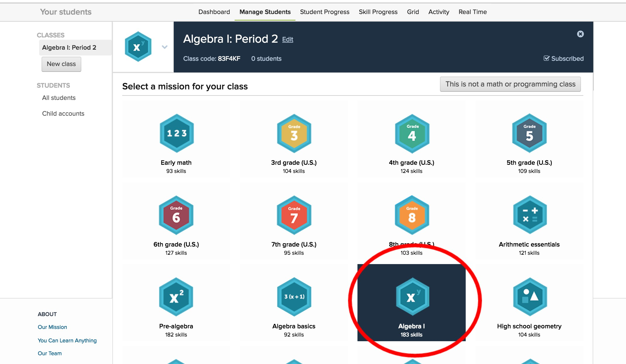 Screenshot of Khan Academy mission options with Algebra I selected and circled in red