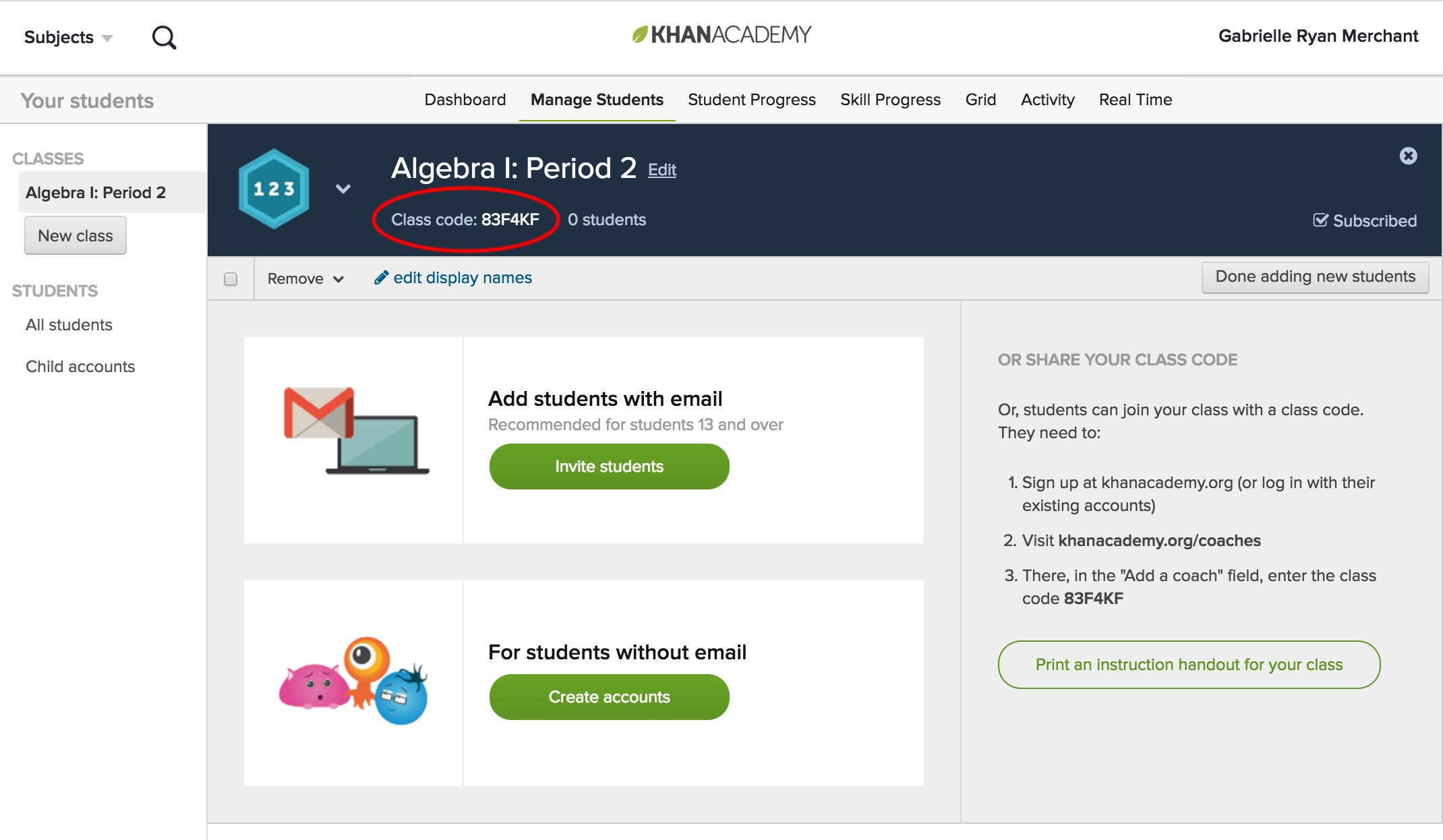 Khan Academy Screenshot of Algebra I page with class code circled in red