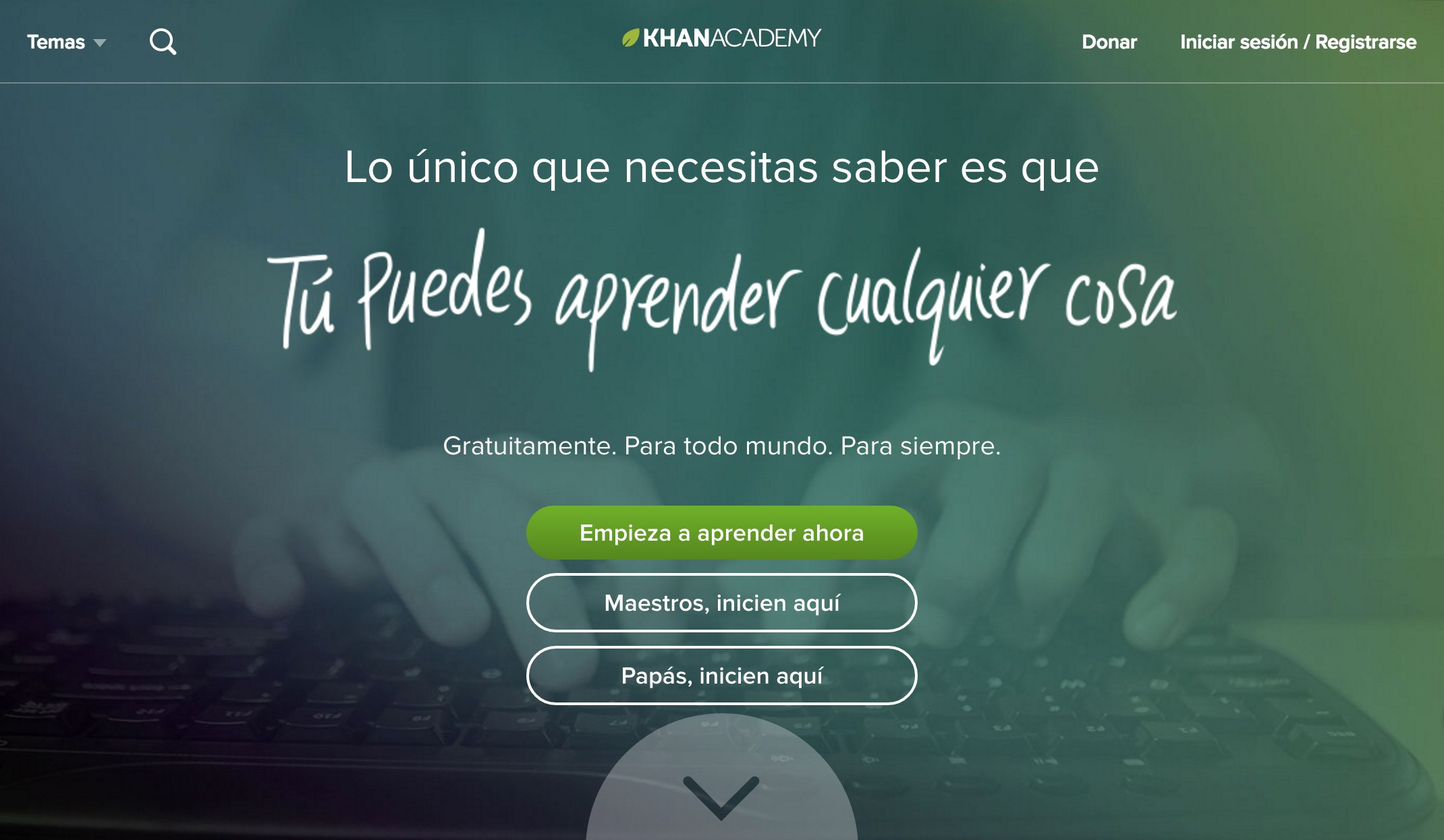 Khan Academy Spanish Homepage