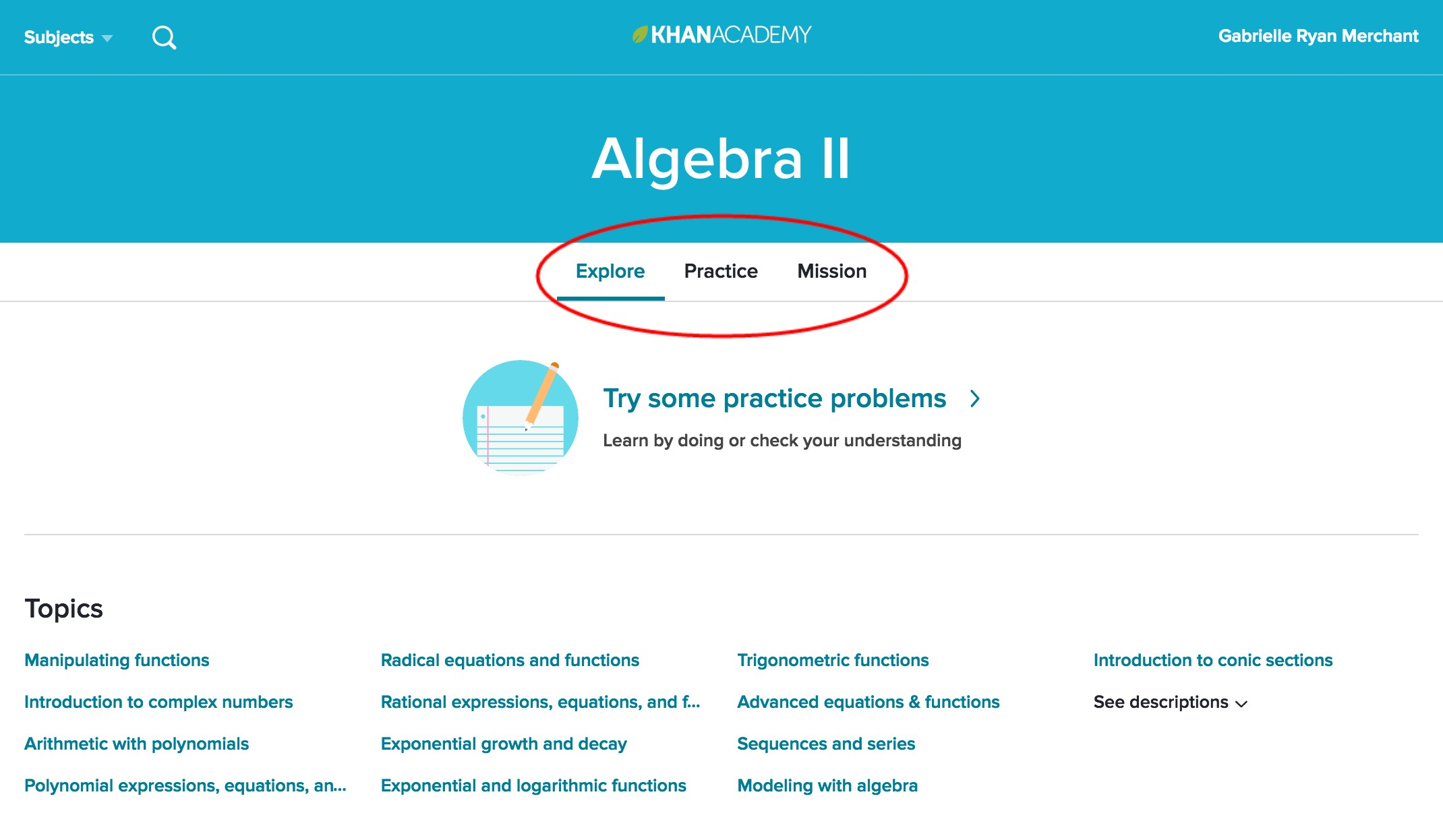 Khan Academy Screenshot of Algebra II page with Explore, Practice, and Mission circled in red