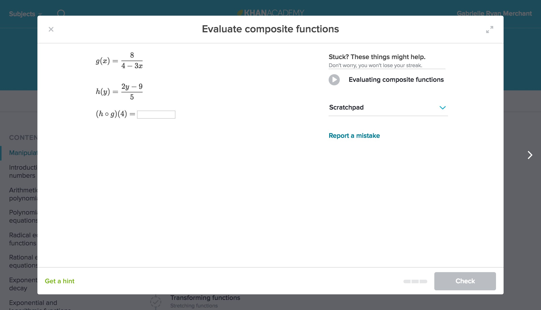 Screenshot of practice problem: Evaluate composite functions