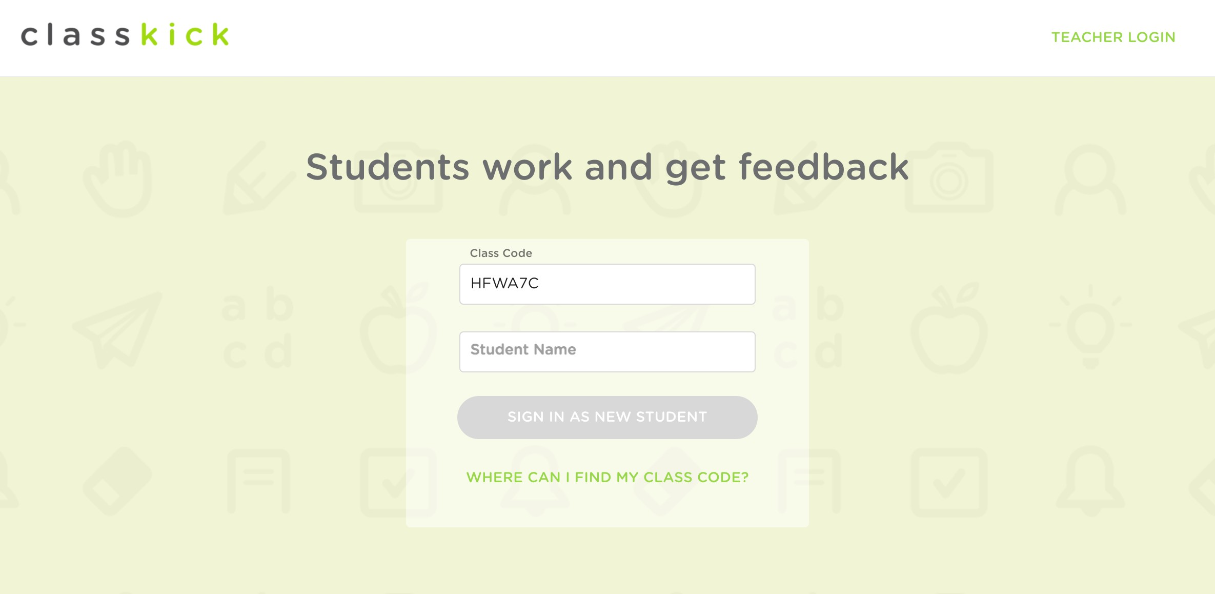 classkick student login page with class code filled in
